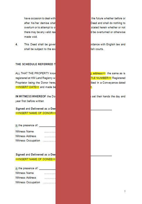Gifting Property To Family Member >> Deed Of Gift Property Template The Legal Stop