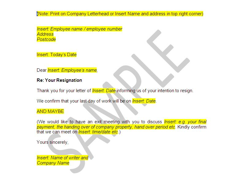 sample letter of resignation 2 weeks notice