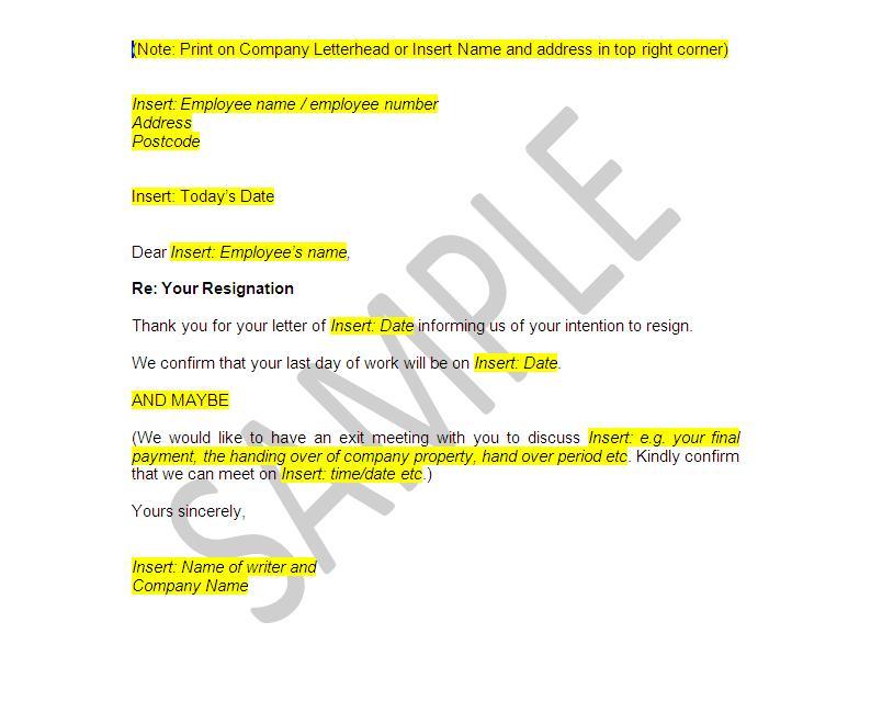 nanny resignation letter