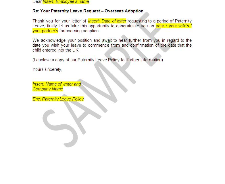 Paternity leave documents employer pack the legal stop view sample thecheapjerseys Gallery