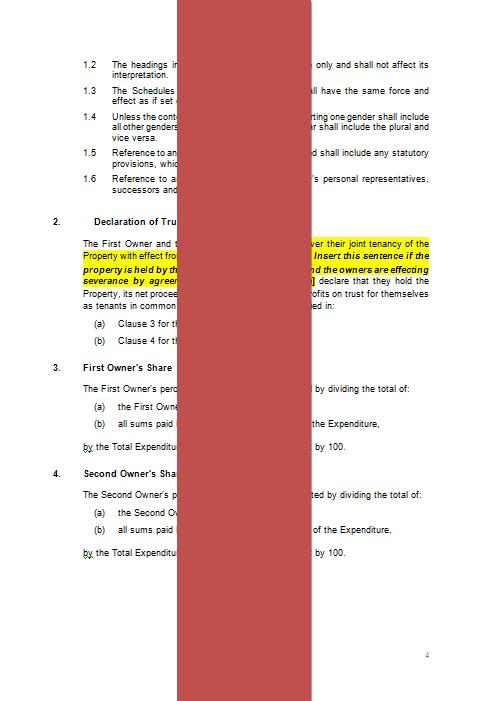 Declaration Of Trust Document Template  The Legal Stop