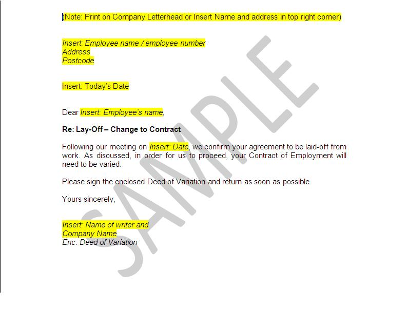 Lay-Off Document Templates - Employer Pack | The Legal Stop